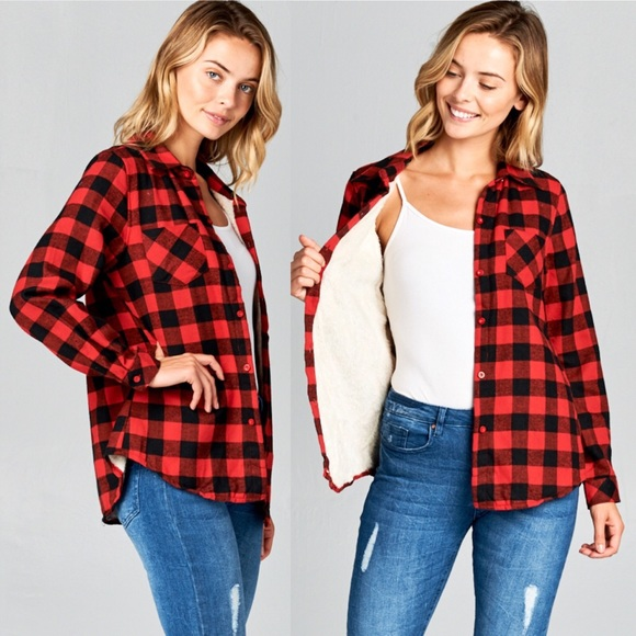 Tops - Fuzzy Fur Lined Button Up Plaid Flannel